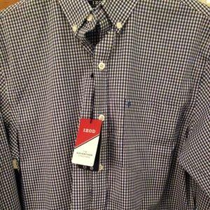 Izod Navy & White Check Long Sleeve Shirt Small
